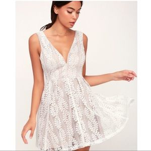 Lulu's white lace overlay skater mini dress